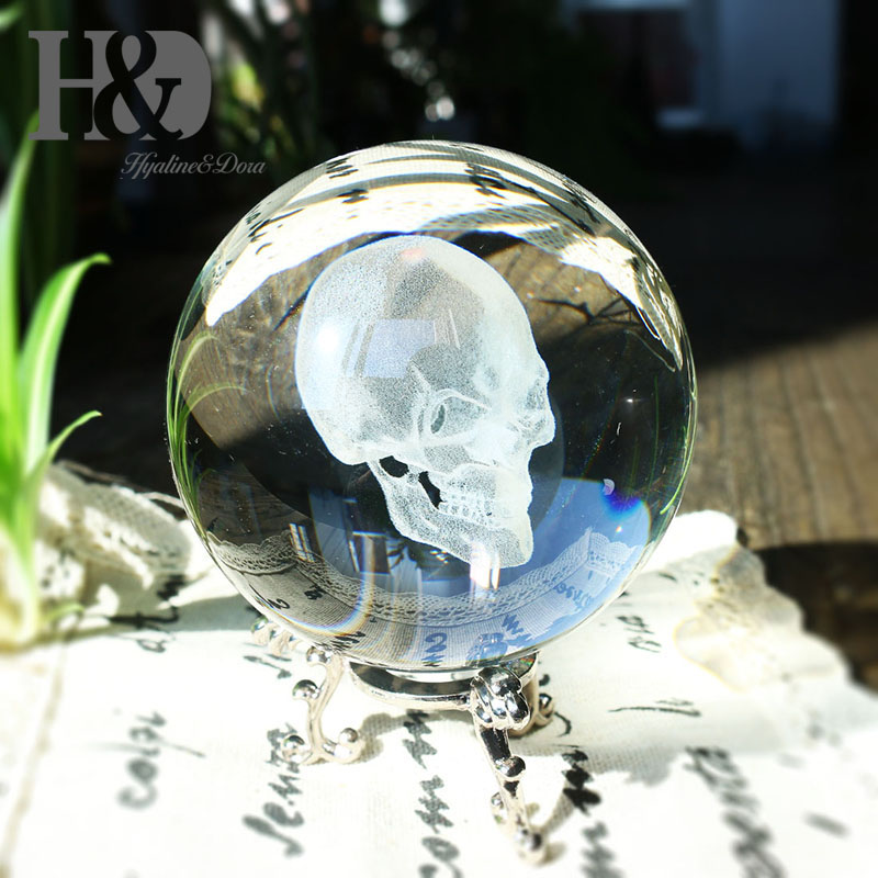 H&D Crystal Clear Crystal Ball 80mm (3.1inch/80mm) 3D Skull Head Including Metal Stand