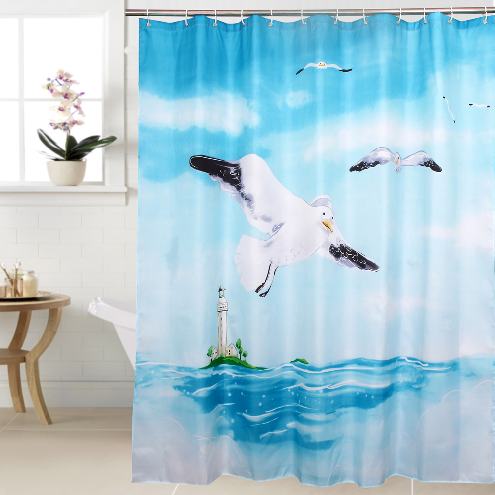 Fabric Polyester Seagull Waterproof Shower Curtain Thicken Shower Curtain Bathroom Curtain, 180 Cm * 180 Cm