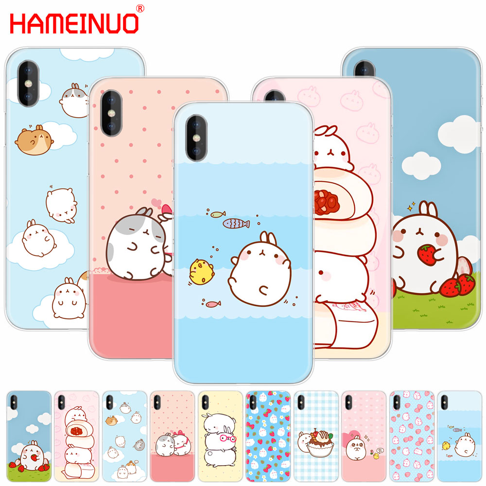 HAMEINUO Molang rabbits Cutest Kawaii Box Potatoes cell phone Cover case for iphone X 8 7 6 4 4s 5 5s SE 5c 6s plus