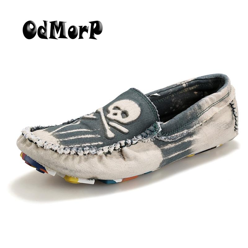Yıkanmış Denim Erkekler Için Moda Serin Kafatası Loafer'lar Üzerinde Kayma Ayakkabı Yumuşak Rahat Ayakkabılar Mens Moda Chaussure Homme