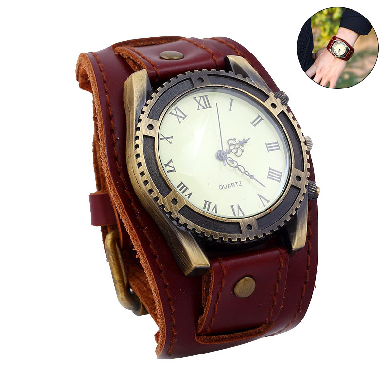 Lover's Watches Hearty Antique Copper Relogio Masculino Retro Punk Rock Brown Big Wide Leather Bracelet Cuff Men Watch Cool Mens Watch Erkek Kol Saati