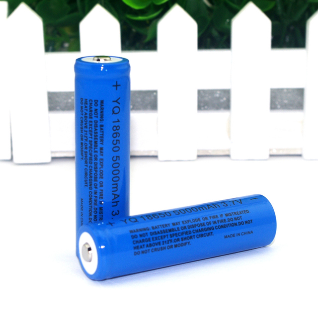 Free shopping 2PCS/LOT 18650  5000mAh lithium ion rechargeable battery 3.7V flashlight battery