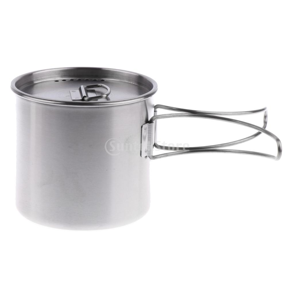 Useful Stainless Steel Bowl With Foldable Handle Outdoor Camping Tableware