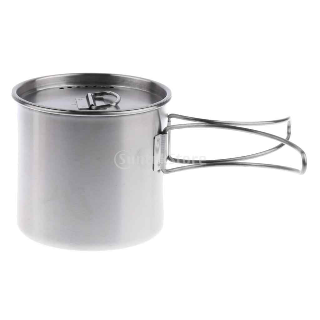 500ml Stainless Steel Outdoor Camping Cup Pot Bowl Backpacking Travel Cup