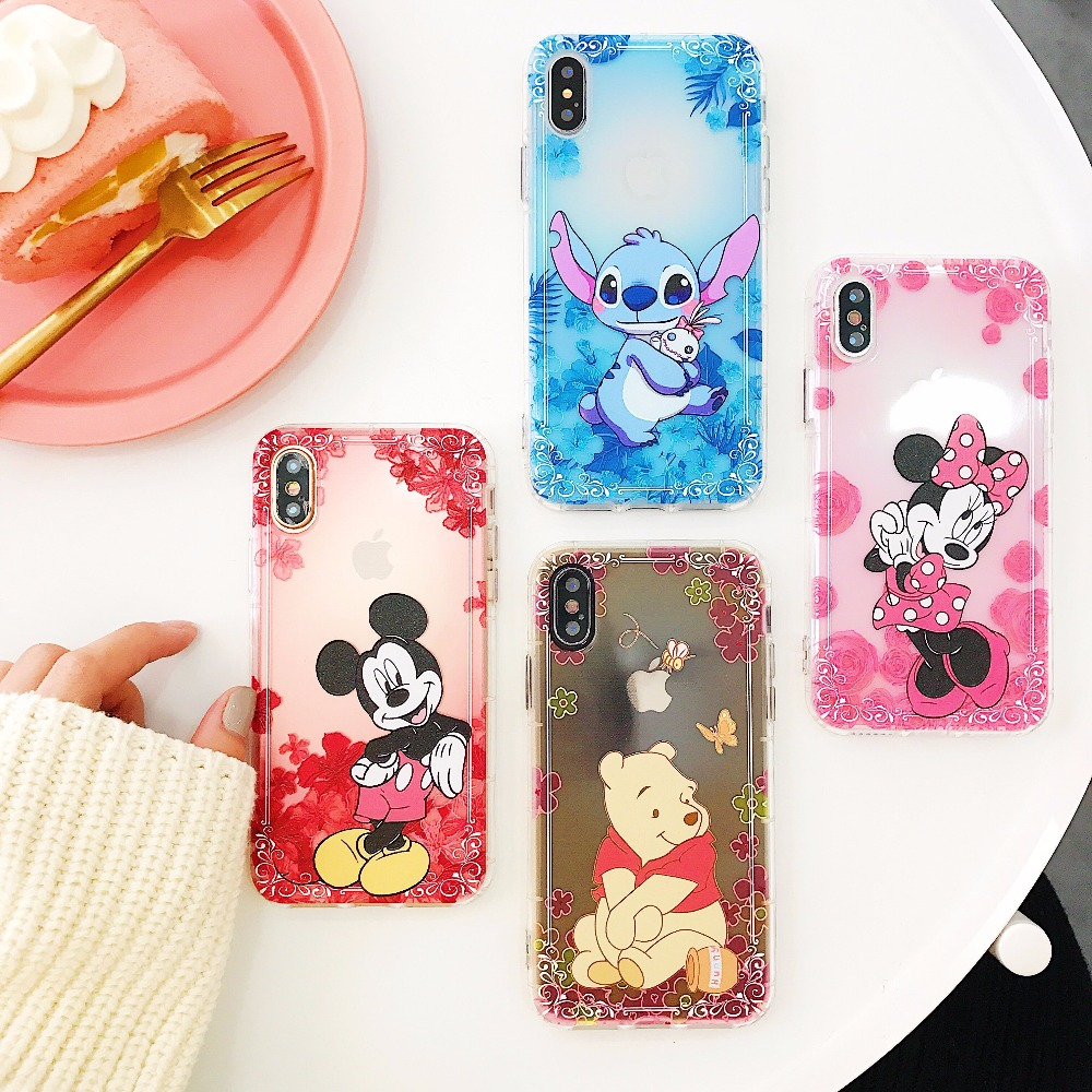 STARKTNI Minnie Mickey Winnie Pooh Mermaid Cute Cartoon Case For iphone 6 6s Plus X 10 Soft TPU For iphone 7 8 Plus Coque Fundas winnie the pooh iphone case