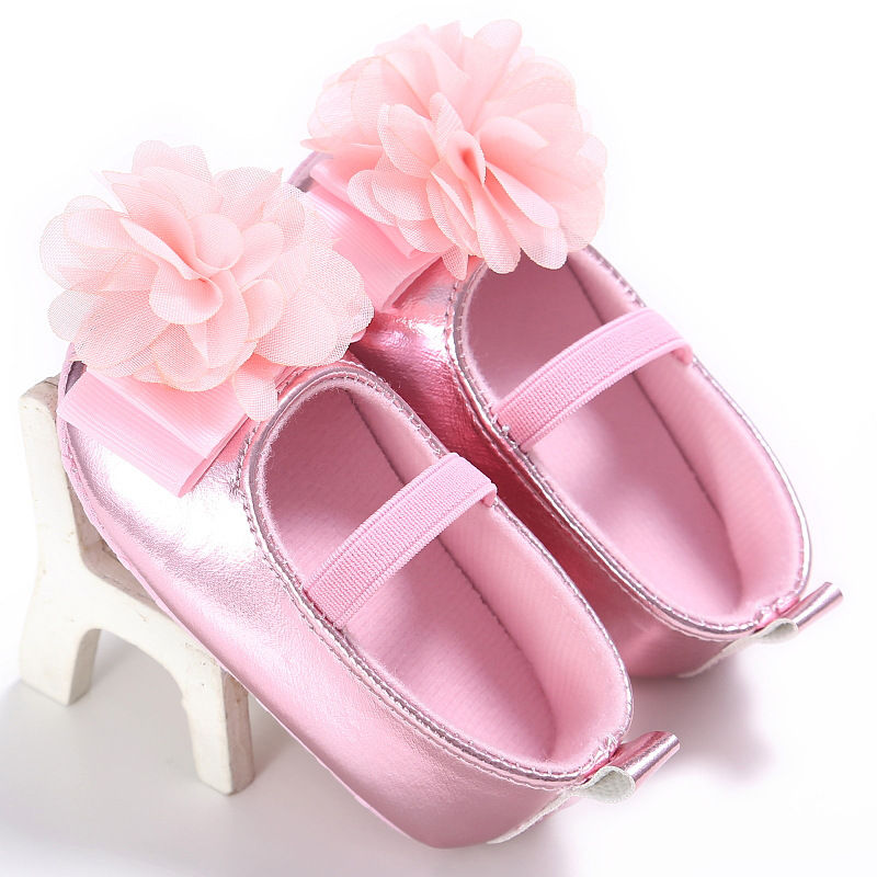 New-PU-Leather-Golden-Silver-Pink-Newborn-Baby-Kid-Prewalkers-Shoes-Princess-Girl-Mary-Jane-Big-Flower-Soft-Soled-Anti-slip-Shoe-3