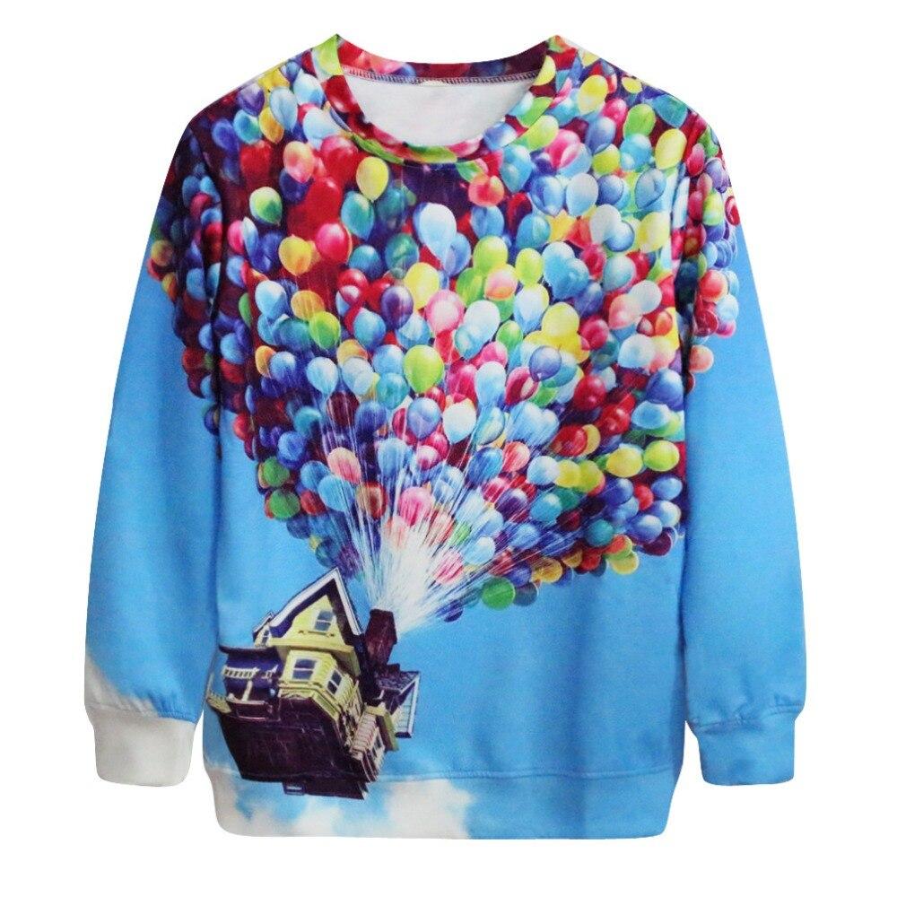 Desain t shirt elegan - Hot Sale Unisex Pria Wanita 3d Desain Elegan Fly Rumah Balon Pola Polyester Kaus Keringat Kemeja