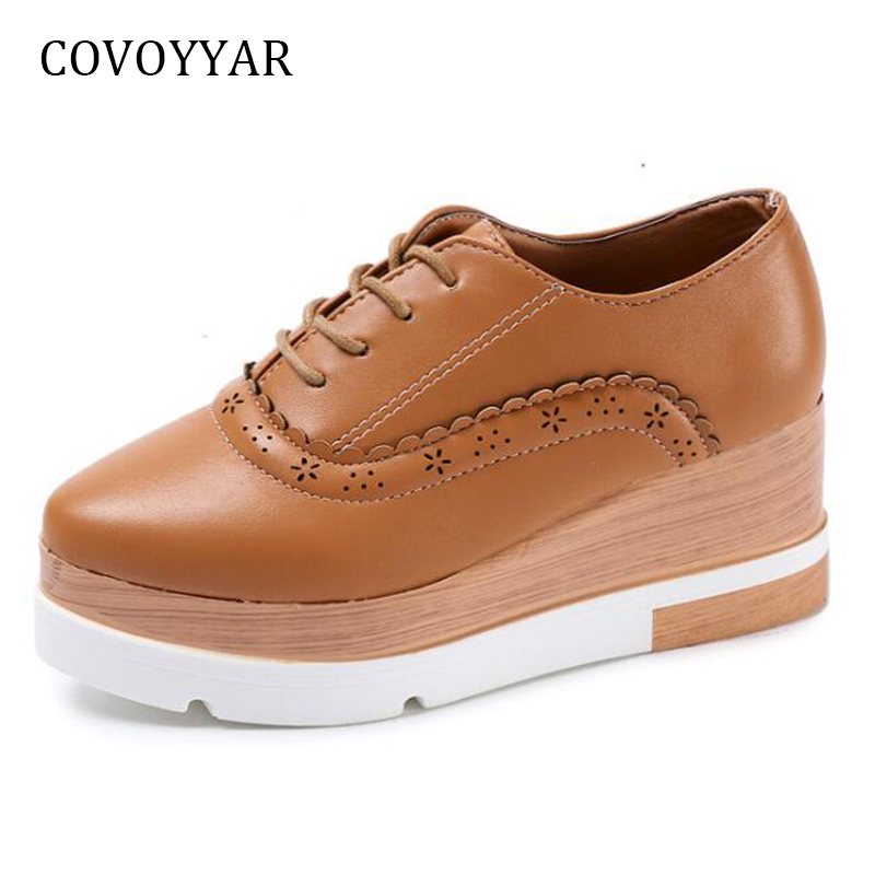 COVOYYAR 2018 Cut Out Women Brogues Shoes Spring Autumn Pointed Toe Woman Wedge Platform Shoes Lace Up Ladies Pumps WFS829 keddo womens lace up brogues