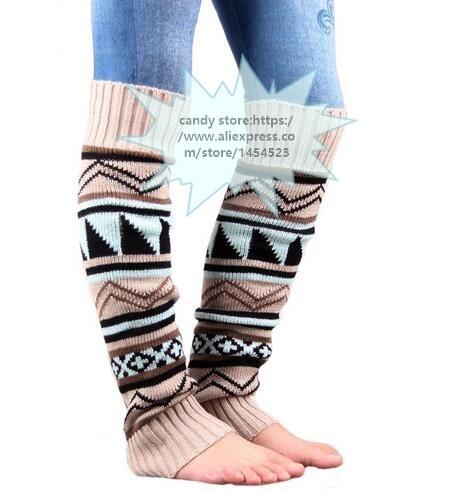 31f3da8144195 100pair/lot New Christmas Boho Leg Warmers Women's Long Boot Warm Cuffs Socks  Crochet Leggings mix 2 color