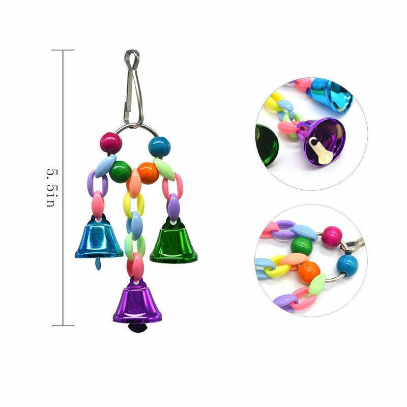 5 Pieces Pet Parrot Toy Set Parrot Hanging Bell Pet Bird Cage Hammock Toys Bird Toy for Parakeets Cockatiels Love Birds