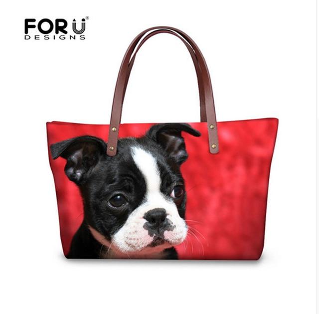 FORUDESIGNS Boston Terrier Handbags Women Hand Bags Designer Famous Woman Large Tote Beach Bag for Ladies Shoulder Dropshipping