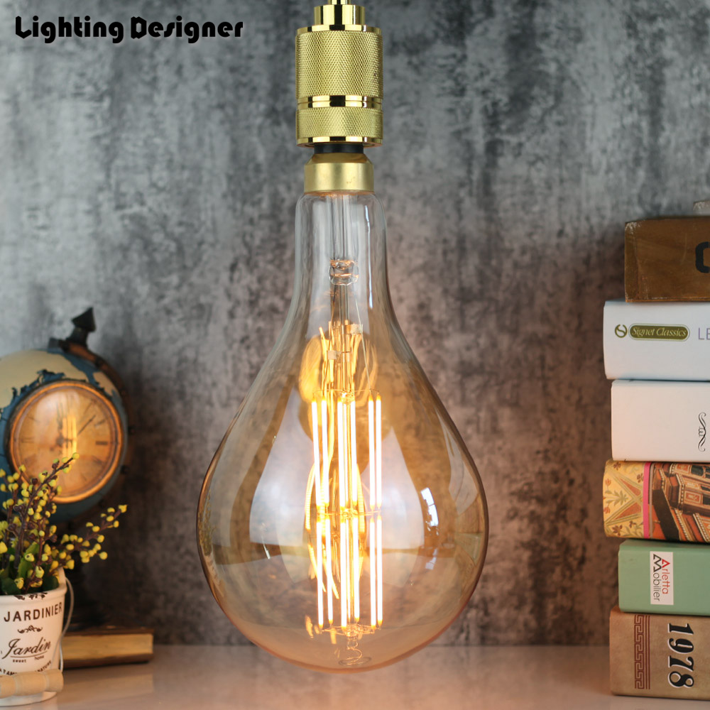 PS52 big large size A160 edison bulb led E27 6W 8W light amber retro saving lamp vintage filament Edison ampul light chandelier