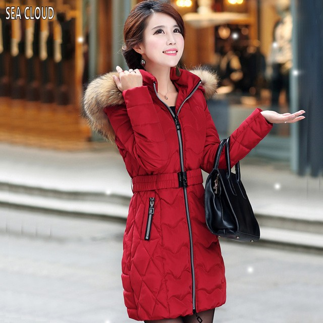 Sea Cloud Free shipping 2017 women's winter plus size female wadded jacket red medium-long  coat L-5XL for 105 kg 4xl 3xl