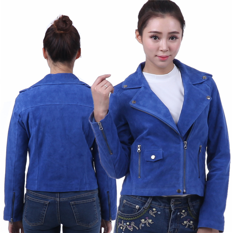 Classic Motorcycle Environmenta protection Leather Jacket punk Coat metal zipper pigskin frosted style Motorcycle Sapphire WOMen