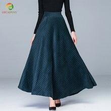 8a58767251 Envío Gratis 2018 nueva moda largo Maxi grueso A-line faldas mujeres  elástico cintura invierno Plaid lana faldas caliente grande.