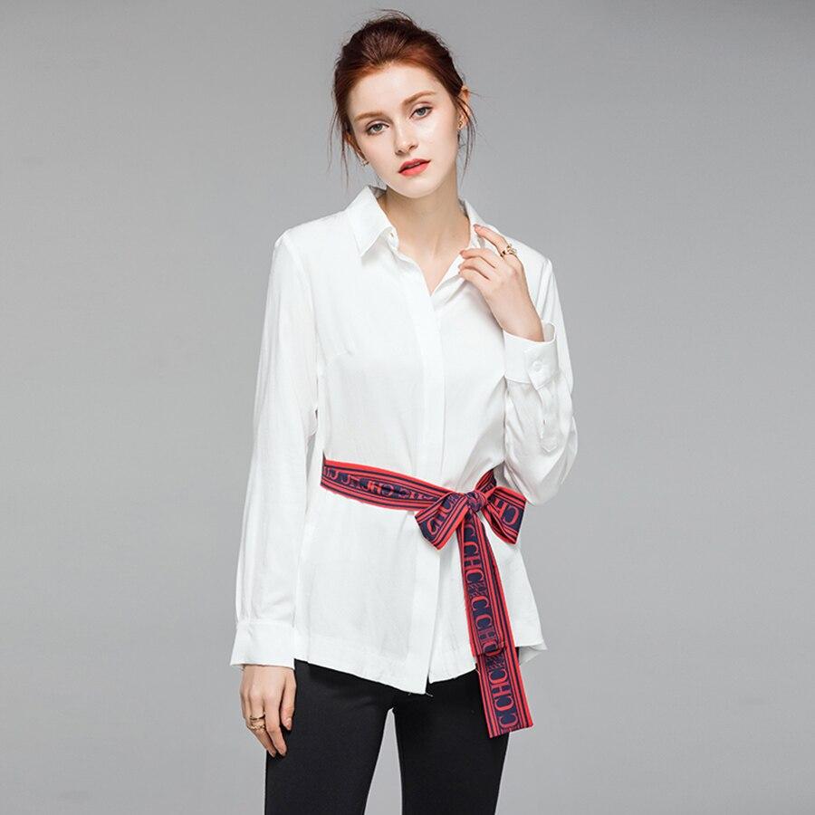 VERDEJULIAY haute qualité bureau couverture en coton 2019 été piste blanc Blouse lettre impression ceinture col rabattu chemises de travail - 2