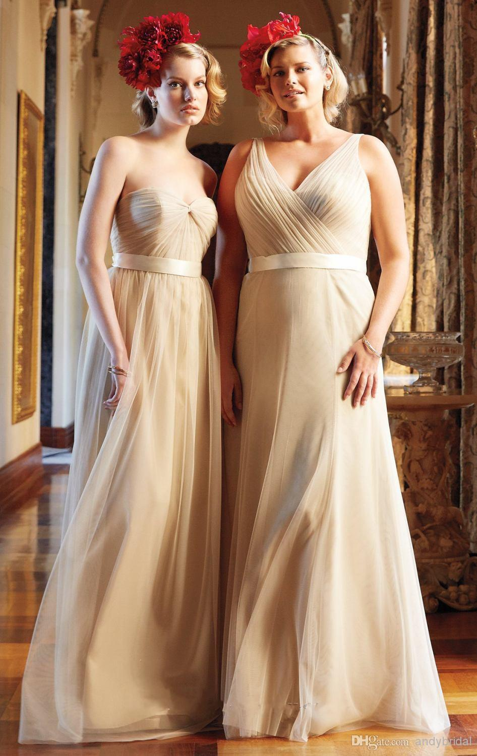 Two Styles Champagne Bridesmaid Dresses Under