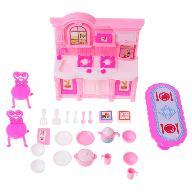 Kitchen Furniture Accessories For Barbie Dolls Dinnerware Cabinet Kids Toy Girl Gift