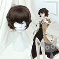 New!! Cheap High Quality New Arrival Bungo Stray Dogs Cosplay Wig Dazai Osamu Short Brown Curly Hair Wigs