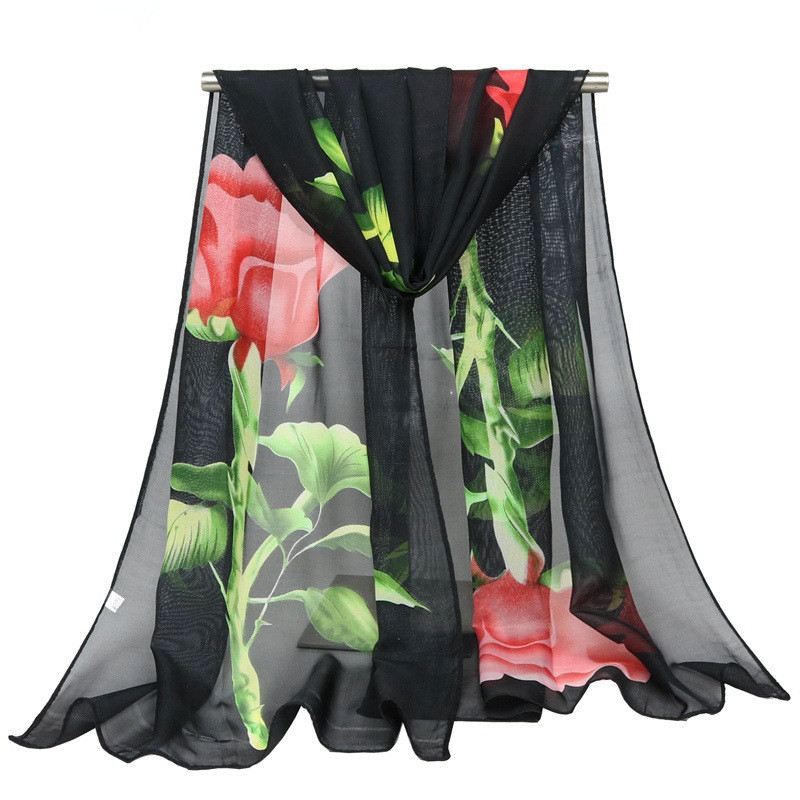 Women Fashion Long Soft Scarf wrap shawl rose flower chiffon scarf ladies wholesale long towel scarves
