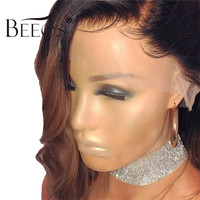 Beeos 150% Glueless Full Lace Human Hair Wigs Short Wavy Wigs with Baby Hair Brazilian Remy Hair Blonde Ombre Wigs Pre Plucked