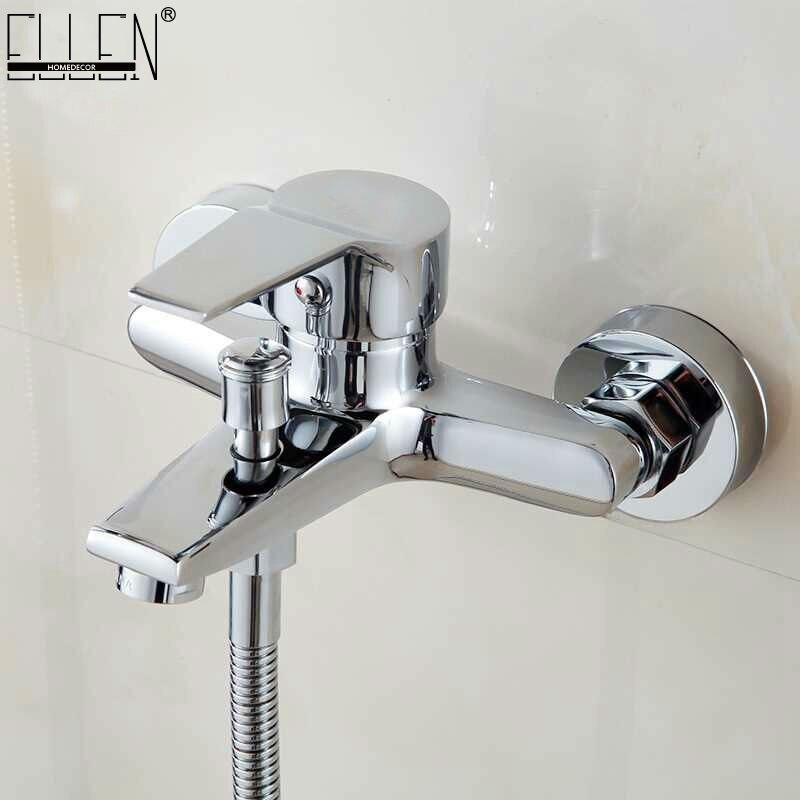 Robinet de baignoire mural cascade robinet de bain en laiton chromé finition bain douche mélangeur d'eau chaude et froide FYB011