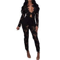 2 Pieces Set Women Sexy Hollow Out Deep V Neck Lace Top And Long Pants See