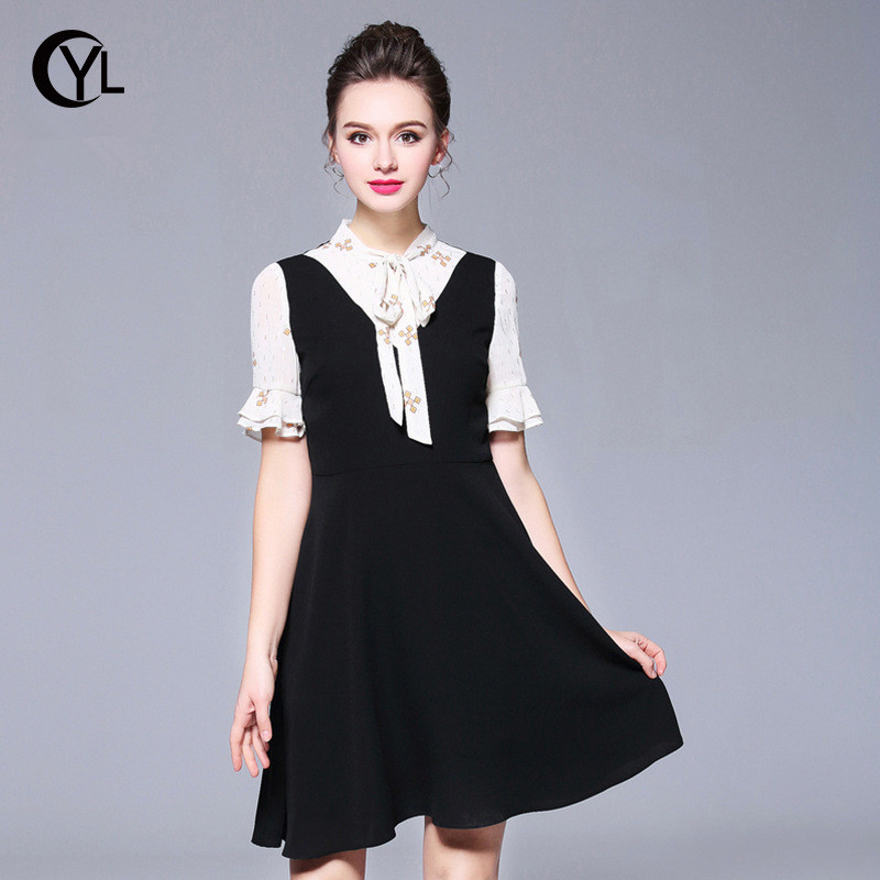 OUYALIN L XXXXL 5XL Plus size Dress Summer Fashion 2018 Korean Style Women  Flare sleeve Bowtie Patchwork Black Dresses-in Dresses from Women s Clothing  ... df6d3376f934