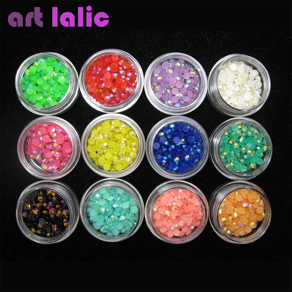 12  Mix Colors Nail Art Rainbow AB Gems Beads Glitter Rhinestones For Acrylic Tips UV Gel Polish DIY Decoration diy 3d gold silver transparent mini caviar beads gel polish nail art tips charm metallic pearl ball pro manicure pedicure