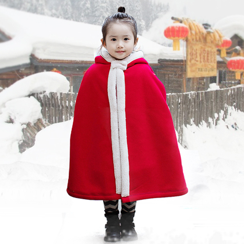 RED Baby Girls Winter Thicken Cloak Chinese New Year Children Costume Ancient Princess Robe Kids Stage Performance Clothing