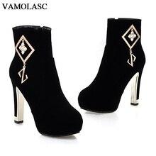 VAMOLASC New Women Autumn Winter Warm Faux Suede Ankle Boots Zipper Square High Heel Boots Platform Women Shoes Plus Size 34-43