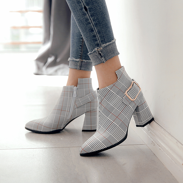 2018 Large Size Women Boots Fashion Plaid Pointed Toe High Heels Women's Shoes Sexy Autumn Winter Ankle Boots female