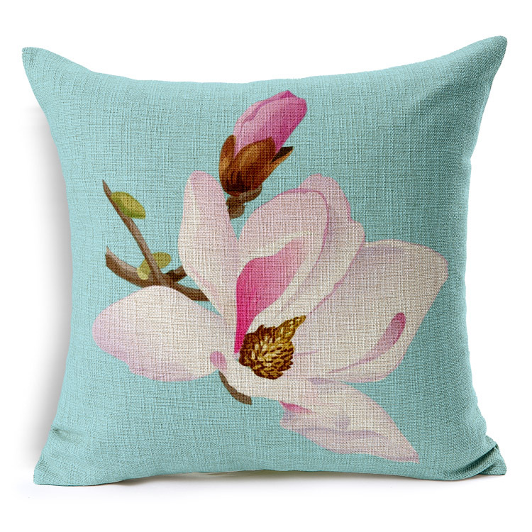 Peach flower cushion cover 7 styles blue and pink pillow case peach flower cushion cover 7 styles blue and pink pillow case chinese culture linen cotton pillow covers bedroom sofa decoration in cushion cover from home mightylinksfo