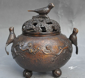 bi003626 Marked China bronze lucky Plum blossom Magpie bird statue incense burner Censer