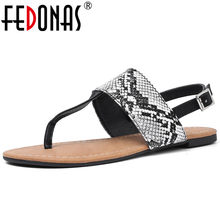 FEDONAS Concise Vintage Rome Women Sandals 2019 New Summer Animal Prints Women Plats Shoes Woman Casual Basic Office Shoes(China)