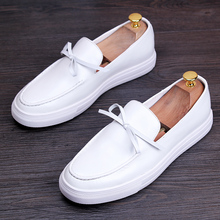 Italy White Genuine Leather Butterfly Knot Men Tenis Masculino Slip-On Casual Shoes New Flats Luxury Moccasins Slippers Driving
