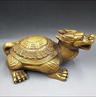 Счастливый китайский Известный латунные фэншуй Статуя Дракона черепахи