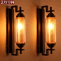 American style retro wall lights living room LED wall sconces industrial wind bedroom bedside wrought iron glass wall lamps