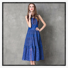 Elegant and elegant boutique women dress 2019 spring summer new vest high waist lace hollow stitching womens clothing