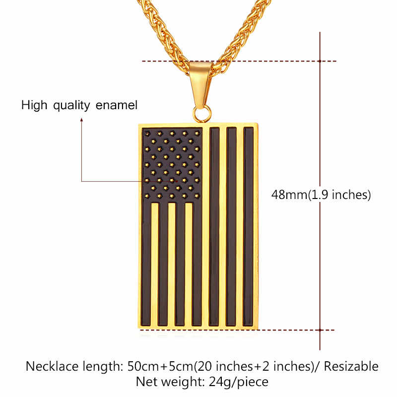 U7 Amerika Flag, USA Patriot Kebebasan Bintang dan Stripes Juli Dog Tag Pendant Kalung, Hadiah, pria Perhiasan, Stainless Steel, P72