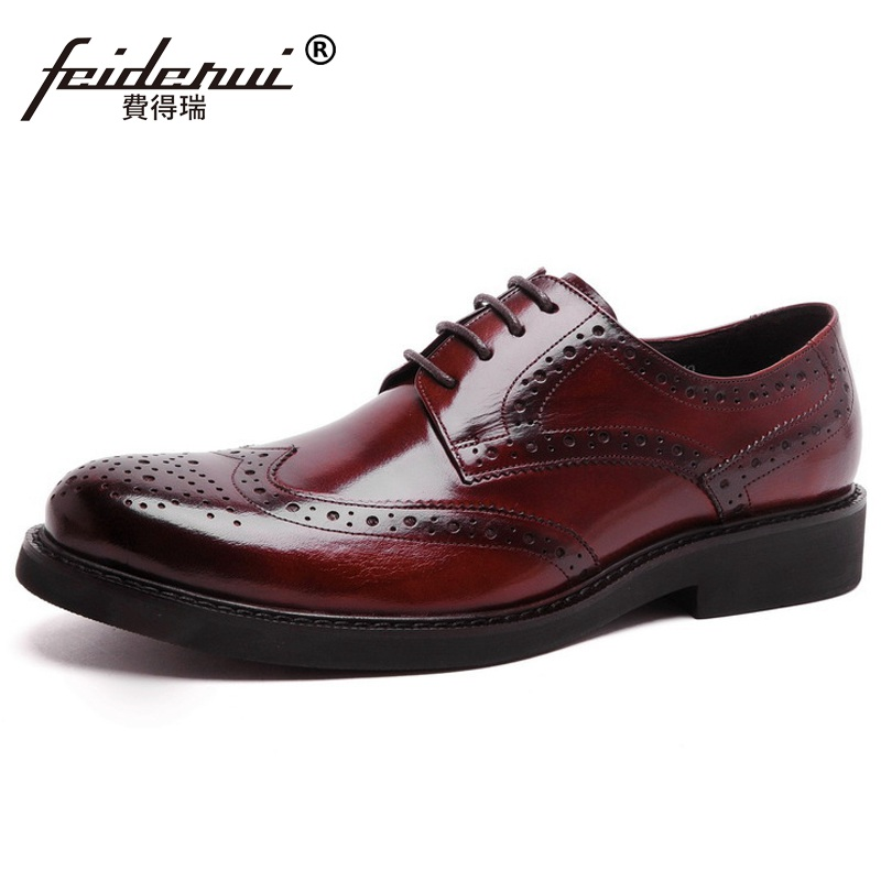 Vintage British Flat Platform Brand Man Formal Dress Shoes Genuine Leather Round Toe Men's Carved Wing Tip Brogue Oxfords KE55 zapatos hombre vestir low heel pointed toe genuine leather british vintage wing tip brogue mens formal shoes male footwear brand