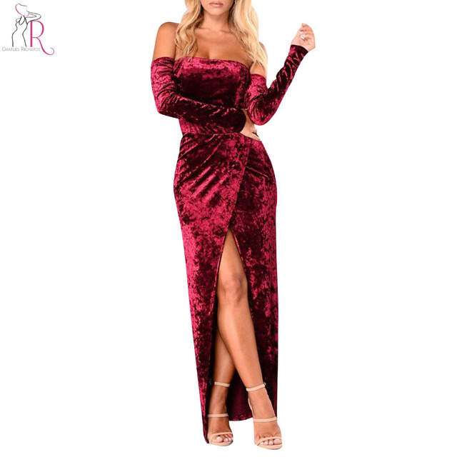 66b33baacf65 Wine Red Off Shoulder Velvet Maxi Dress Women Long Sleeve Thigh Warp Split  Front High Waist Backless Party Vintage Dress