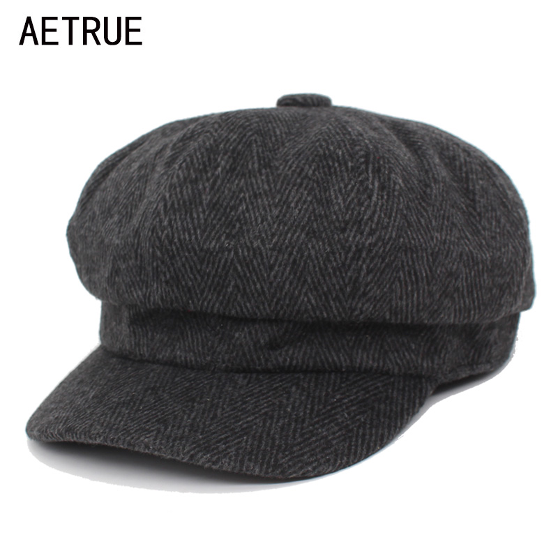 AETRUE Octagonal Hats Cap Men Beret Hats For Men Winter Women Fashion Corduroy Flat Spring Boina Striped Male Newsboy Caps 2018
