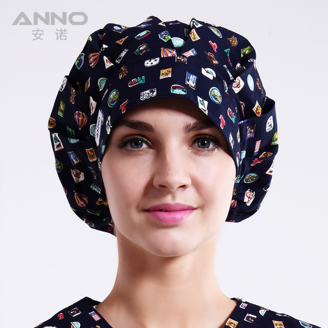 Blue Stamp  pattern printing Bon Cap scrub hats Women hats suitable for long  hair with comfortable scrub caps women