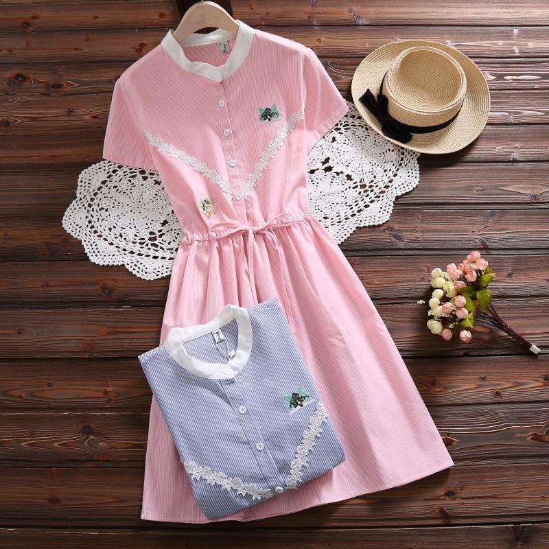 Mori Girl Розовое платье 2018 новые модные женские туфли Кружево вышитые Платья из хлопка короткий рукав в полоску летние платья