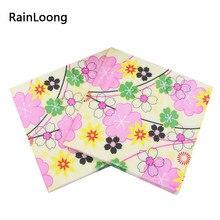 [Rainloong] impresso guardanapo de papel flor para festas & festa fornecimento acessórios tecido servilleta 33*33cm 1 pacote (20 unidades/pacote)