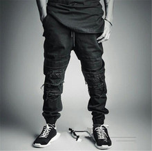 Fashion 2015 New Ripped Skinny Jeans Mens Personality Rock Style Jean Pants Slim Skinny Pants Distressed  Jeans S-2XL