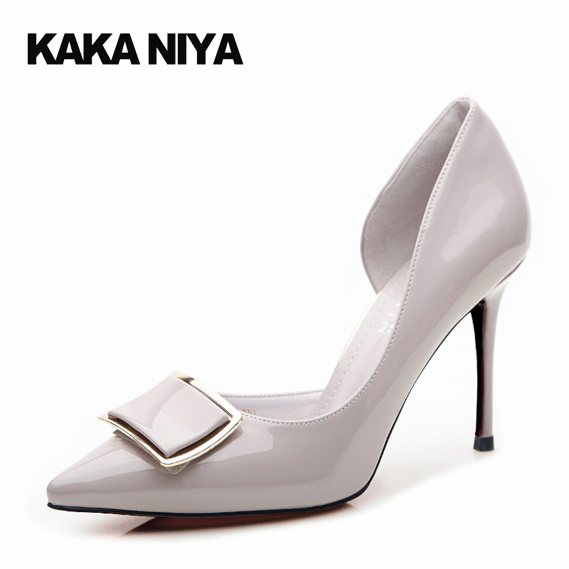 Patent Leather D'orsay Slip On Thin Gray Ladies Formal Shoes High Heels Women Evening Size 4 34 2017 Pointed Toe Chic Chinese hot sale 2016 new fashion spring women flats black shoes ladies pointed toe slip on flat women s shoes size 33 43