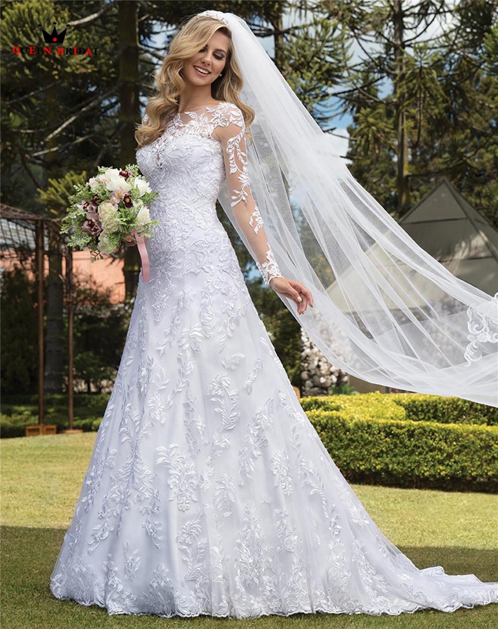 Custom Made Mermaid Long Sleeve Tulle Lace Appliques Sexy Luxury Bride Vintage Wedding Dresses Vestido De Noiva 2020 WH55