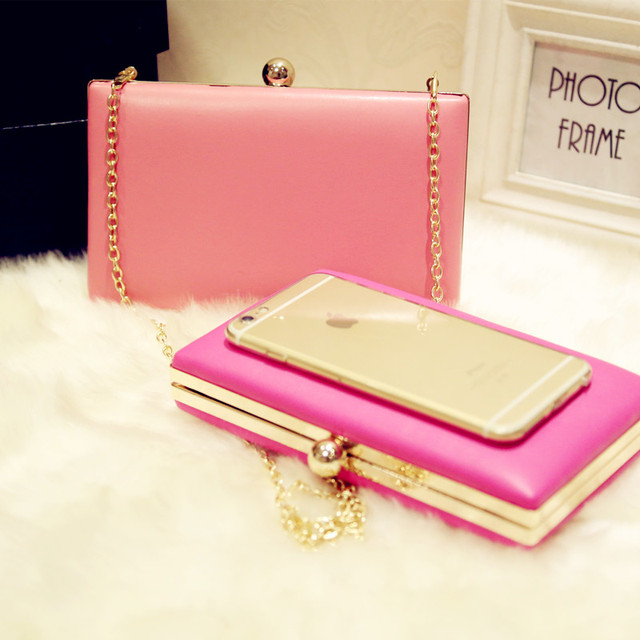 8eb0d18c7 Hot Pink Party Women's PU Wedding Evening Bag Clutch handbag Bride Party  Purse Makeup Bag With Chain Cute Girl Wedding Handbag